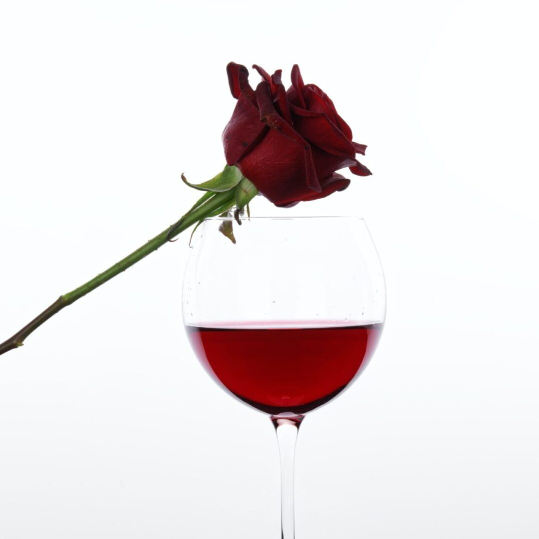 Wine and rose flower
