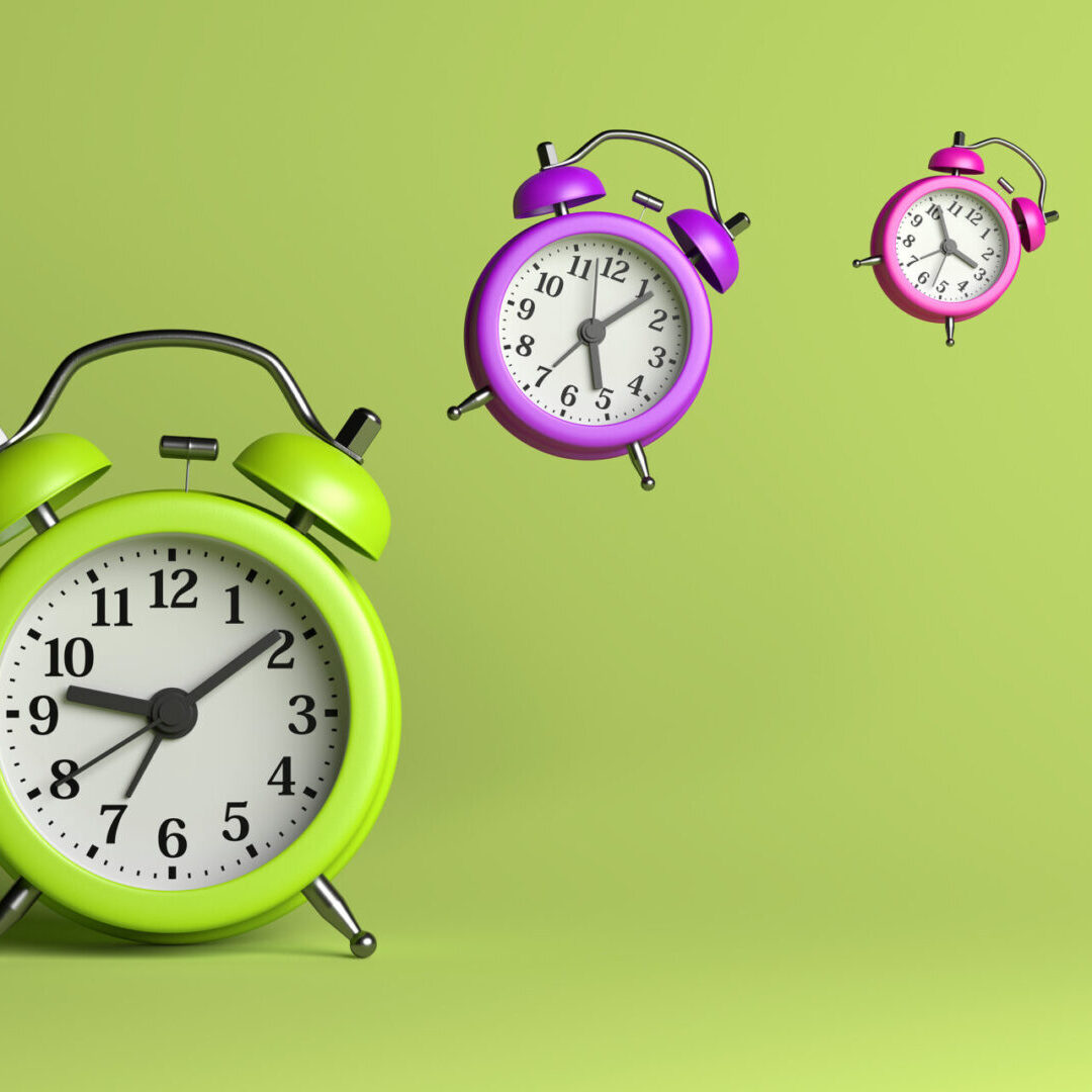 Alarm Clocks Flying on Green Empty Background 3D Illustration Time Flies Concept