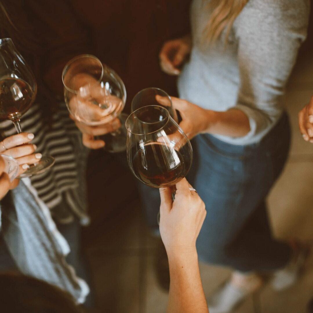 sharing wine